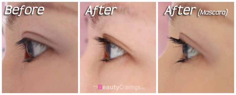 Before-After the use of Shiseido Eyelash Curler