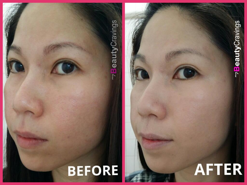 Before & After application of Shu Uemura POREraser (Beige)