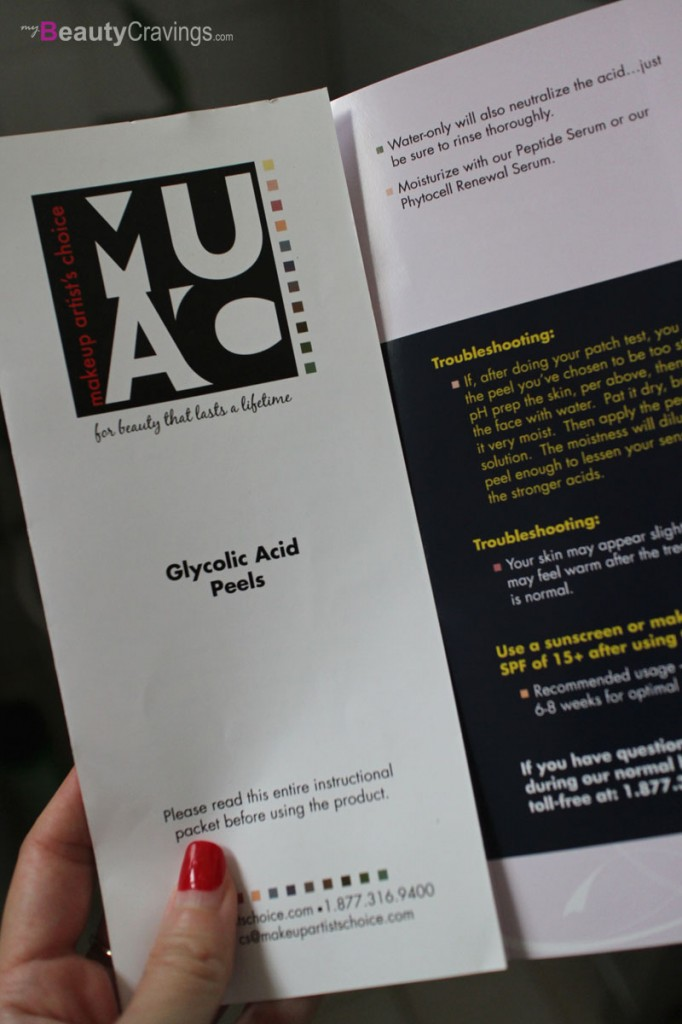 Brochure from MUAC (40% Glycolic Acid Peel)