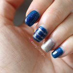 One designed nail (with horizontal stripe)
