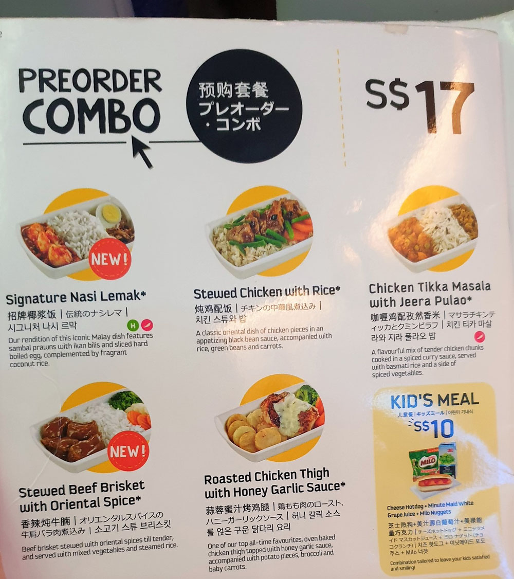 Scoot Singapore to Osaka Menu