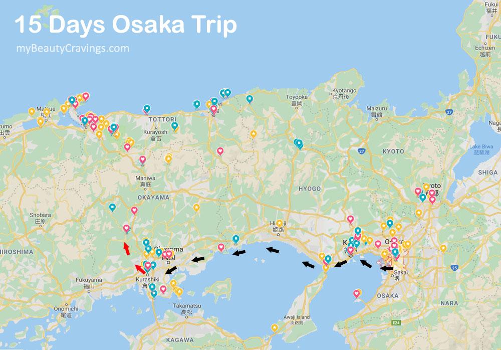 Osaka Trip & Around (Map Locations)