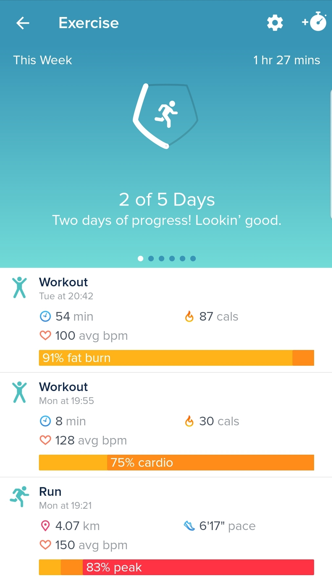 Fitbit App Exercise Screen
