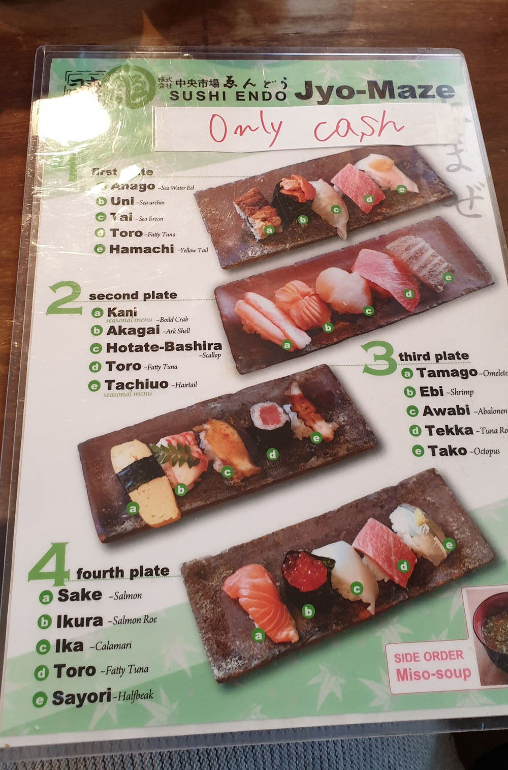 Endo sushi menu